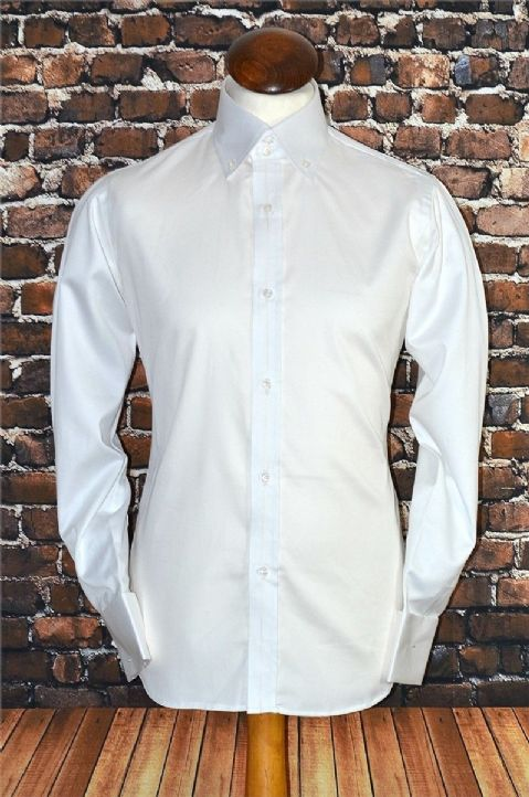 """Benny""White Button Down Long Sleeve Shirt"